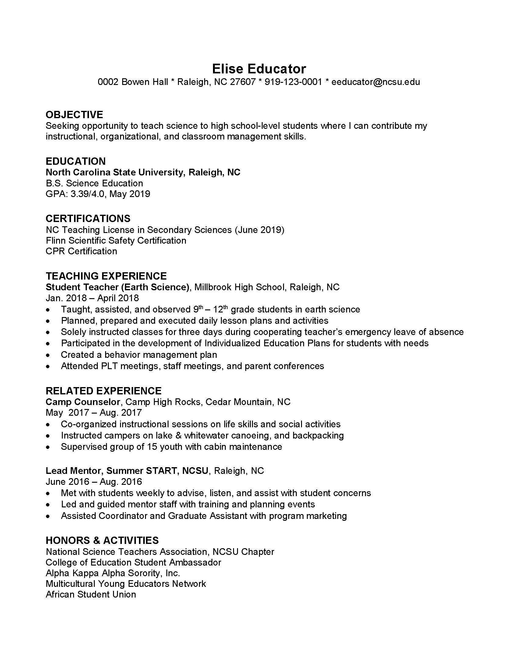 educator resume