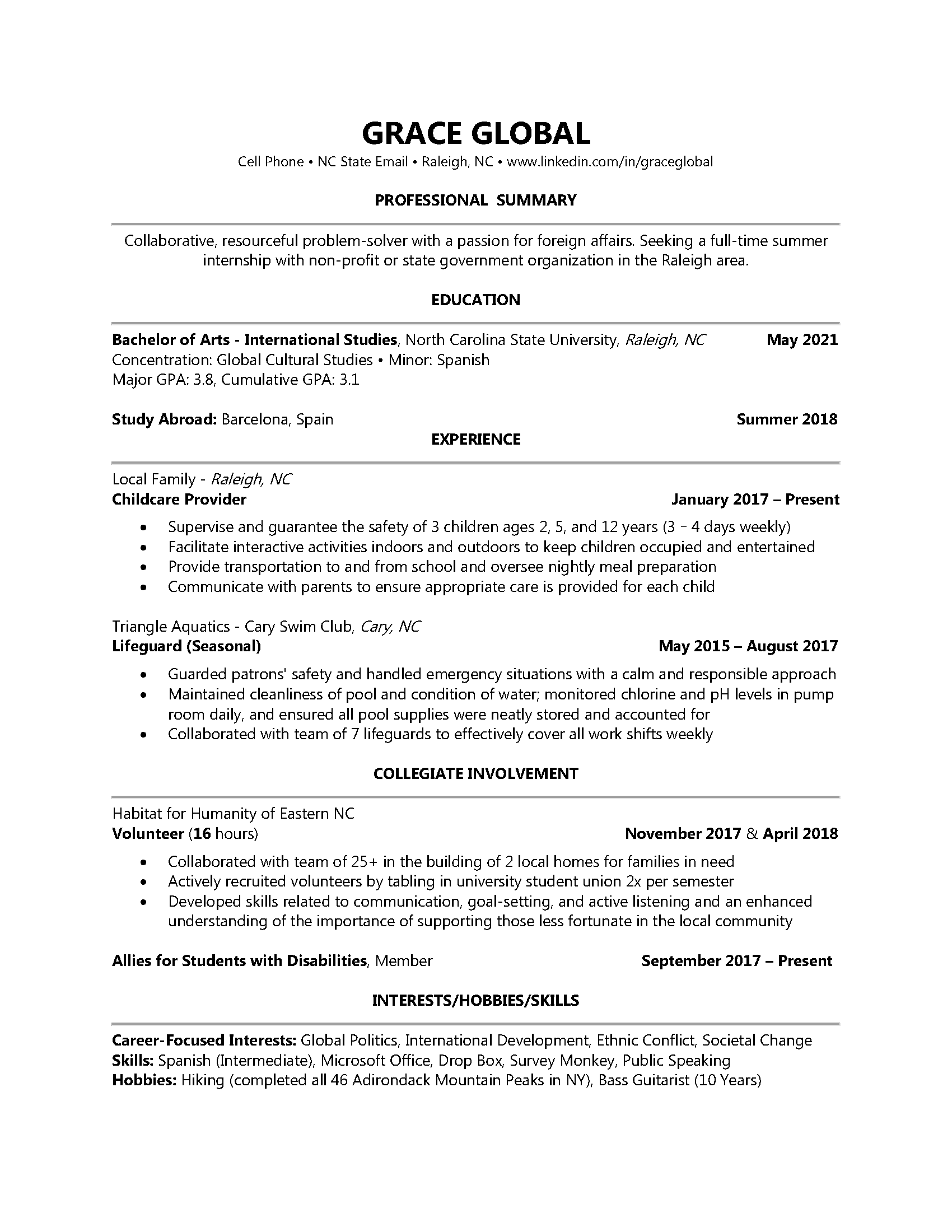 global industry resume