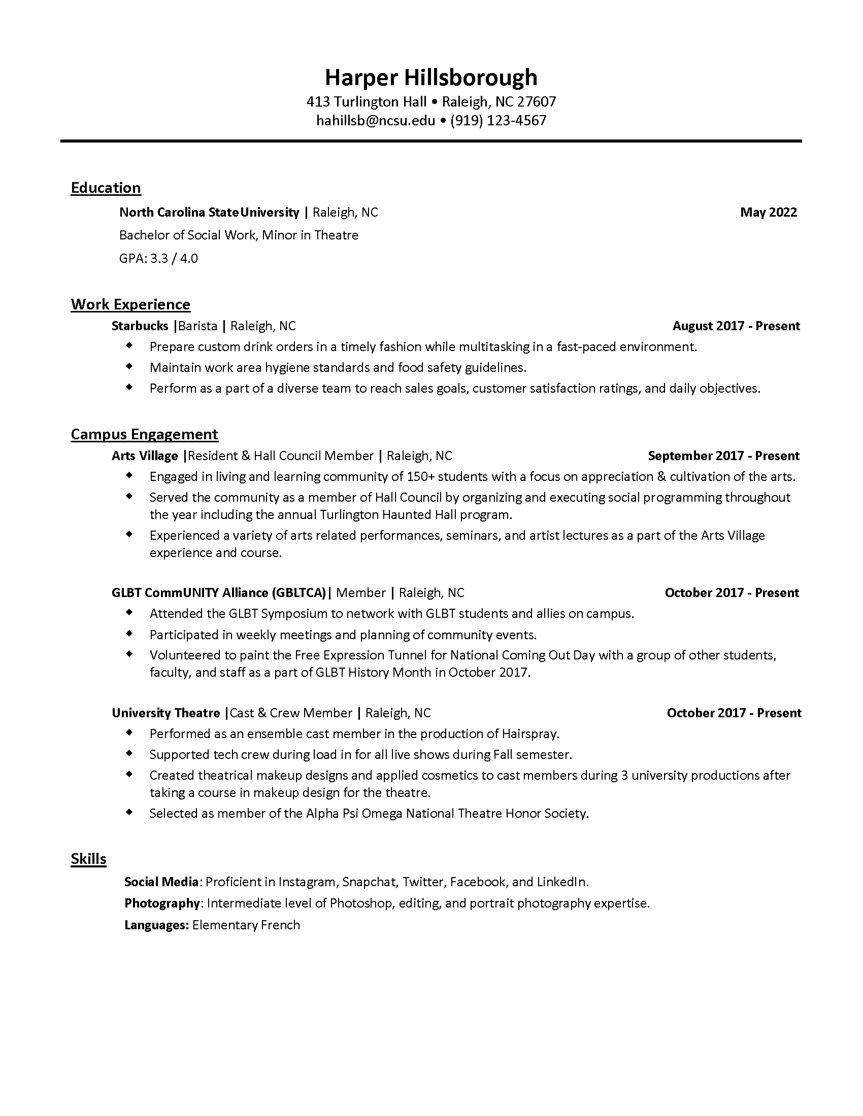 General Resume Career Development Center