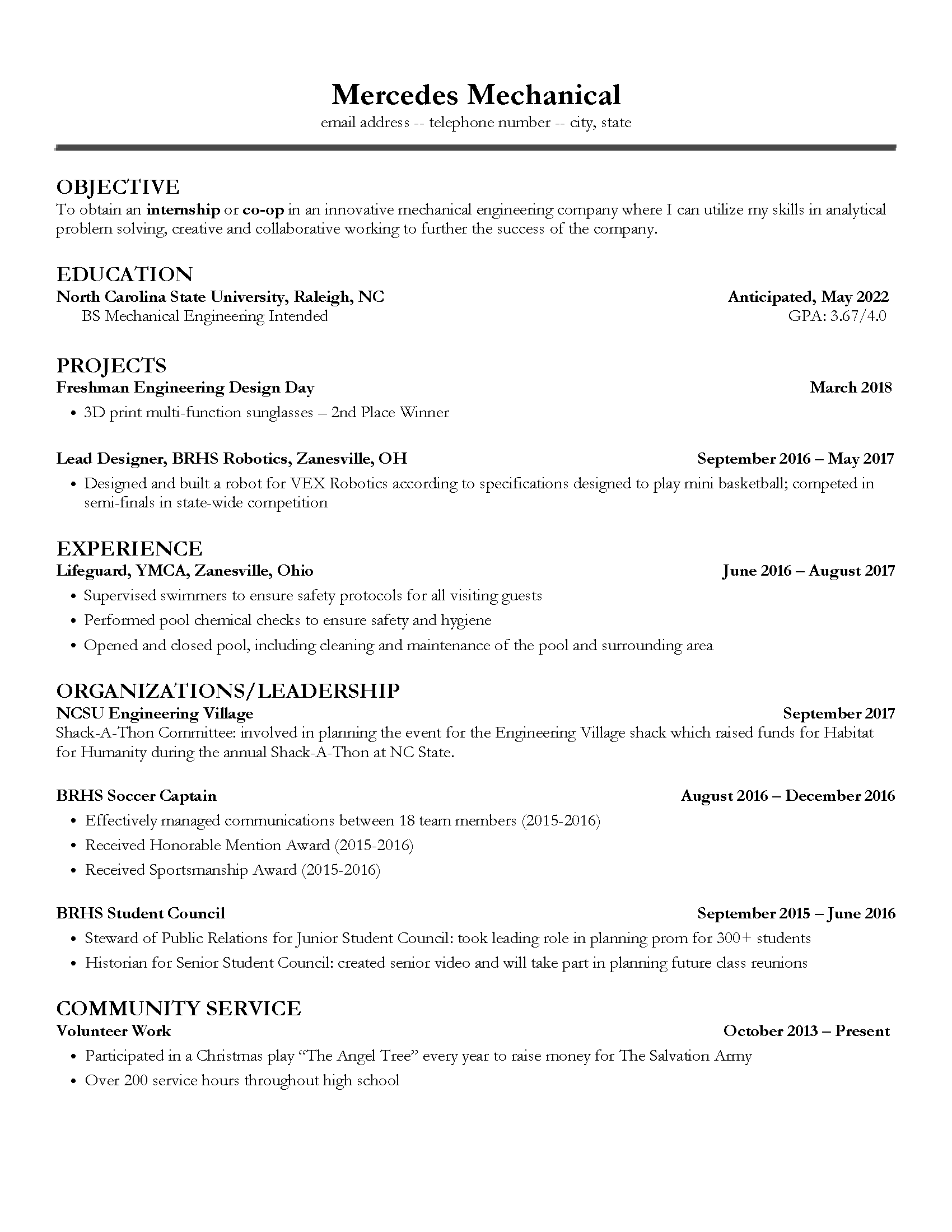 mechanical resume