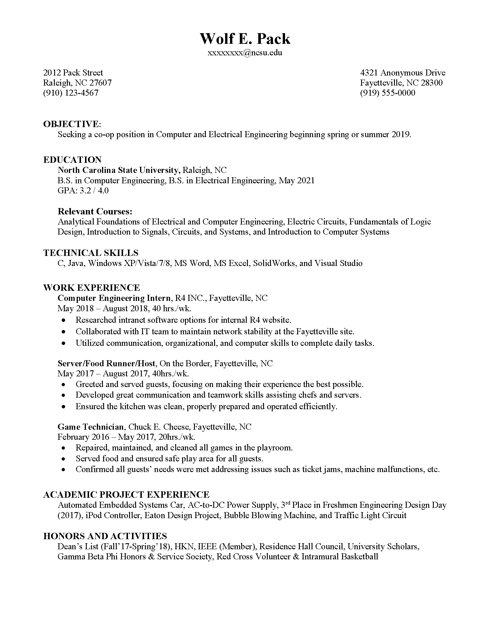 Co-op Resume | Career Development Center