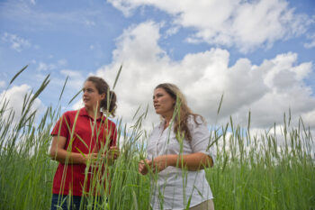 Two women stand in hay field
